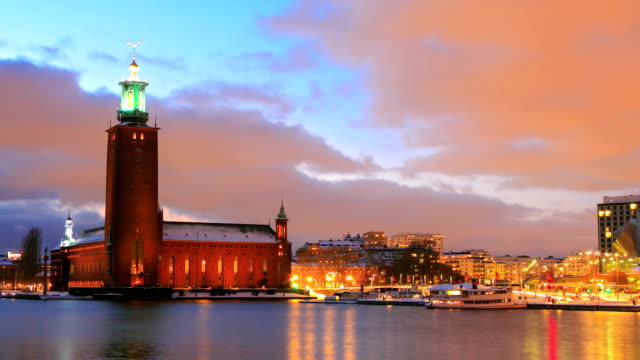 Stockholm Cityhall at dusk video