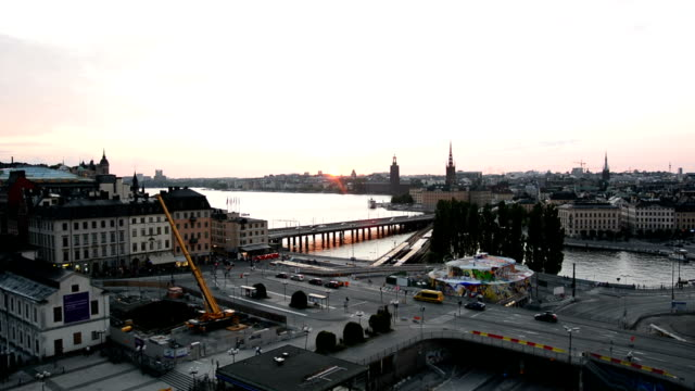 Stockholm Cityscape at Sunset video