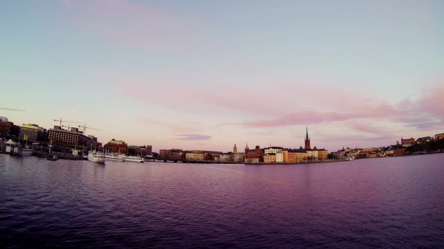 Stockholm, Sweden. Panorama of the old town and church video