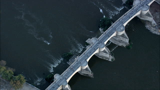 Stone Bridge Or Bridge Of Lions  - Aerial View - Aragon, Saragossa, Zaragoza, Spain video