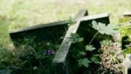 Stone cross in cemetery, Leafs video