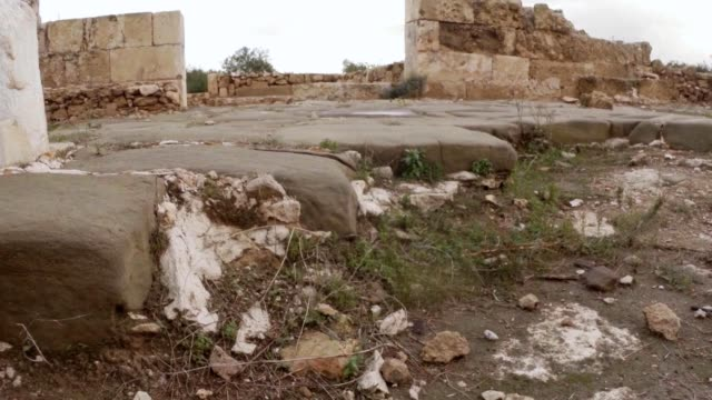 Stone layings of floor ruins ancient town Salamis east Cyprus Famagusta video