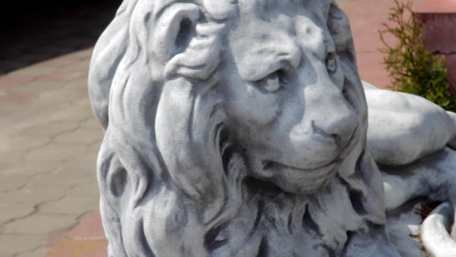 stone lion lying at the entrance video