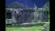 1977: Stone monoliths Machu Picchu native Inca civilization building architecture focus ruins. video