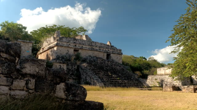CLOSE UP: Stone stairway leading to the entrance of ruined ancient Mayan temple video