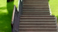 Stone steps in park. Granite stairs. Closeup of staircase. Park steps video