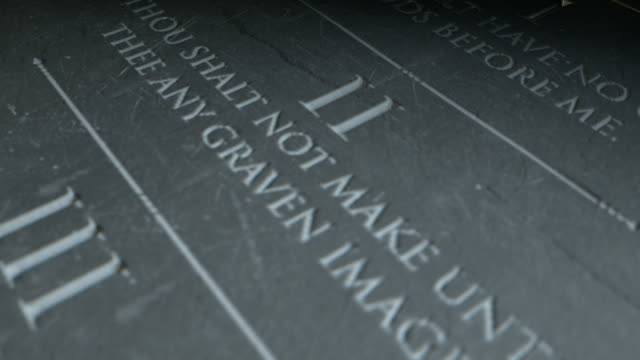 Stone tablet with the first five of the ten commandments video
