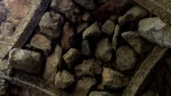 Stone wall. stone medieval ceiling video