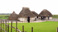 stonehenge Neolithic dwellings in the archeological site video