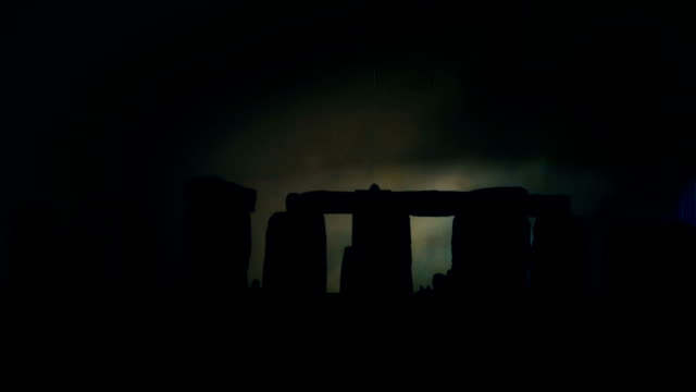 Stonehenge Silhouette at Night Under a Lightning Storm and Rain video