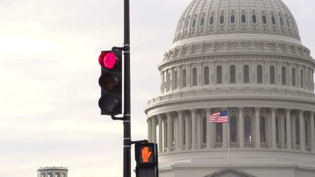 Stop light and the US Capital in Washington D.C. video