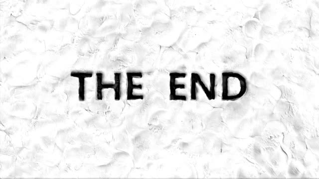 Stop motion animation of 'the end' words. video