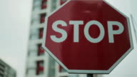 Stop sign. Close-up video