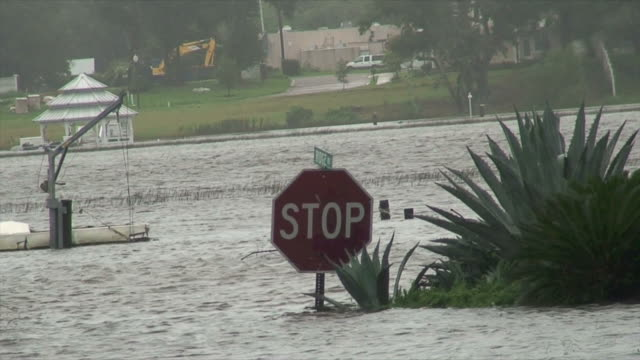 Stop sign in a flood video