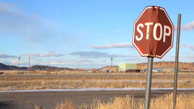 stop sign in abandoned town video