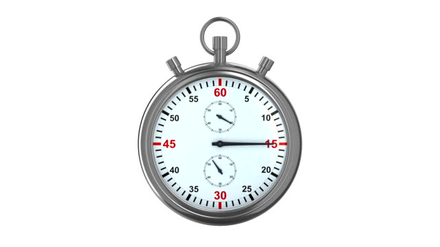 Stopwatch on white background. 3D render video