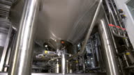 Storage Tanks in Brewery. Brewing factory indoors. Steadycam shot video