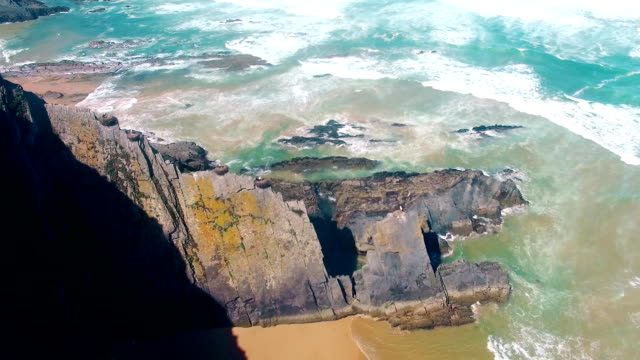 Storks nest on cliffs at the coast of Algarve Portugal aerial view video