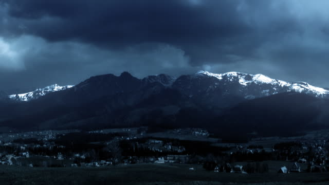 Storm and lightning. Thunderstorm in the Tatra Mountains. Dramatic sky. video