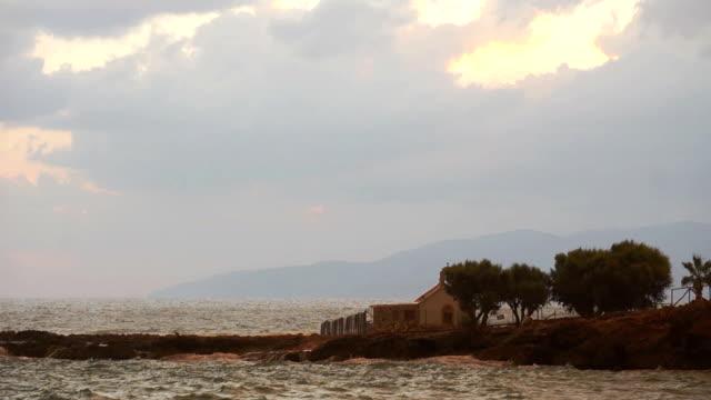 Storm rain fog and mist scenic beach cliff. video