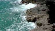 Storm waves crashing on shore closeup slow motion. video