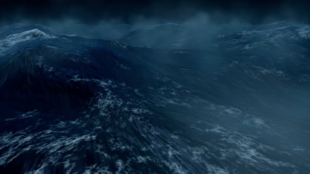 Stormy ocean with lightnings - HD, NTSC, PAL video