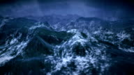 Stormy ocean with rain and lightning, camera is static. video