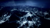 Stormy ocean with rain, lightning in slow motion by night. video
