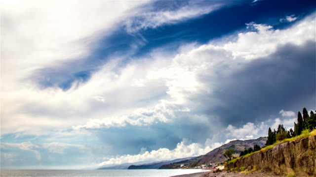Stormy sky over sea time lapse video