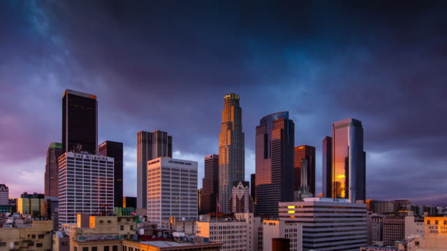 Stormy Sunset Over LA Skyscrapers - Time Lapse video
