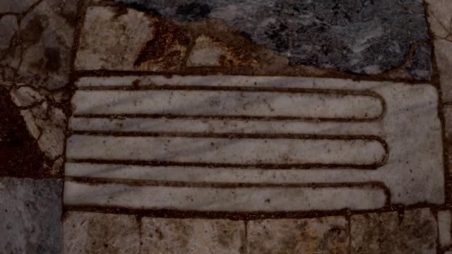Strange reconstruction floor with marble tiles roman baths old town Salamis east Cyprus Famagusta video