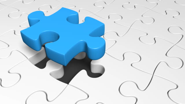 Strategy concept of a 3D missing puzzle piece providing a successful solution video