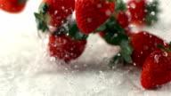 Strawberries falling and splashing, Slow Motion video