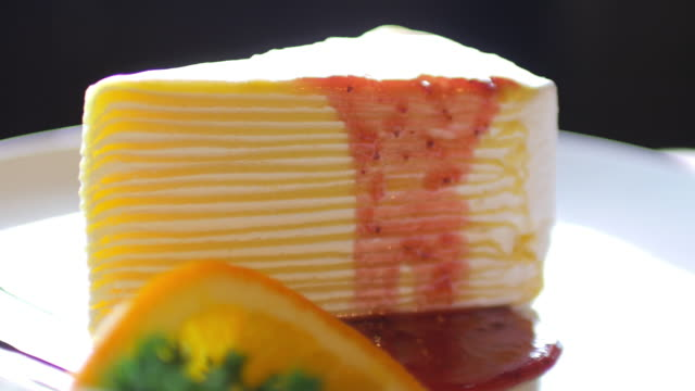 Strawberry cake cutting at coffee cafe and cake shop video
