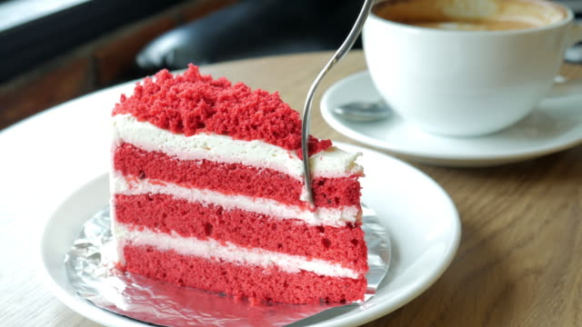 Strawberry cake cutting the best time for relaxing at coffee cafe and cake video