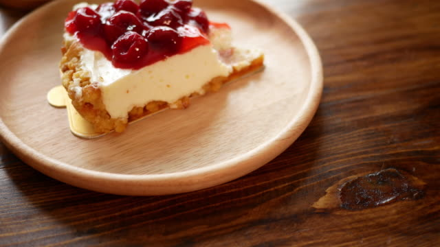 Strawberry cheese cake in the cafe video