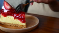 Strawberry Cheese cake serving and cutting video