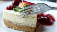 Strawberry cream cake serving and cutting video