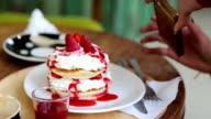 Strawberry crepe cake eaten video