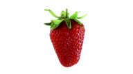 Strawberry rotating on white background. Luma channel included. video