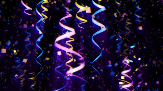 Streamers and confetti loop. Celebration background. video