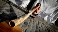 Street artist playing didgeridoo video