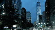 Street at Freedom tower at night, Manhattan, New York, USA video