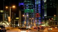 Street in Doha downtown at night. Qatar video