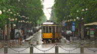 Street in Milan with tram video
