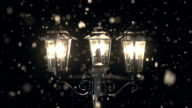 Street Lamp post in the Snow at Christmas video