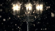 HD CRANE: Street Lamp post in the Snow video
