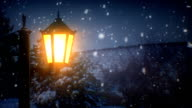 Street lantern and snow (loopable) video
