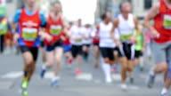 HD - Street Marathon. Defocused video