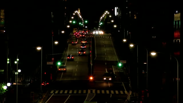 Street night at Tomigaya crossing wide shot high angle time lapse video